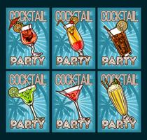 Vector set of cocktail glasses