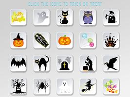 Set of assorted Happy Halloween user interface buttons.
