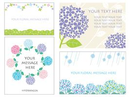 Set of four card templates with hydrangeas.