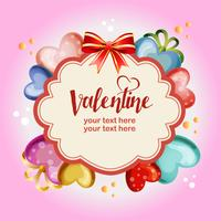 wreath colored valentine love template