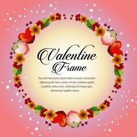 cartão de dia dos namorados floral frame
