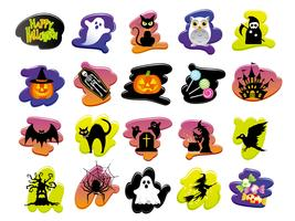 Set of assorted Happy Halloween user interface icons.