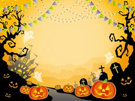Seamless Happy Halloween landscape vector illustration with text space.