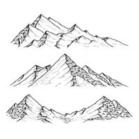 Hand drawn vector illustration the mountains