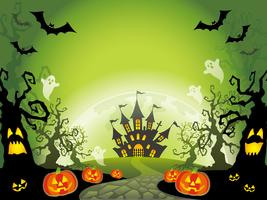 Happy Halloween landscape vector illustration with a text space.