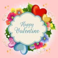 valentine illustration card with colored flower