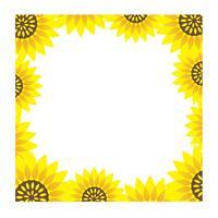 Quadratischer Sonnenblumenrahmen mit Textraum.