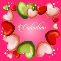 valentine cute heart frame vector