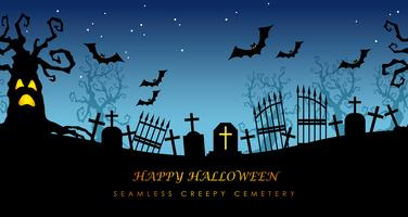 Happy Halloween seamless creepy cemetery with text space