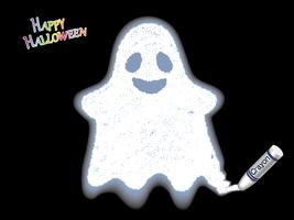 Happy Halloween white ghost crayon illustration on a black background.