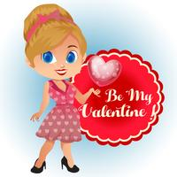 Avatar-Cartoon-Valentinstag-Thema mit Vintage-Kleid
