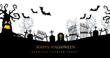 Happy Halloween seamless creepy cemetery with text space. vector