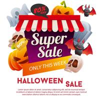 halloween super sale template with pumpkin