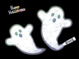 Happy Halloween crayon white ghost vector illustration on a black background.