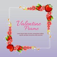 valentine love frame with flower