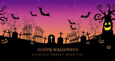 Cemitério assustador sem emenda feliz de Dia das Bruxas com espaço do texto.