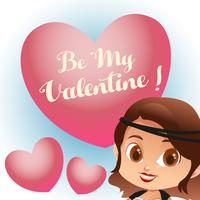cartoon valentine with retro fashion