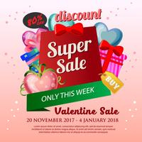cute valentine Sale Poster with heart shape