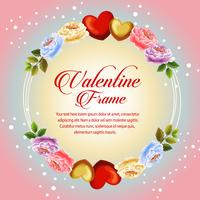 circle frame beautiful flower valentine flower