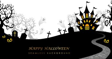 Happy Halloween seamless background with text space,