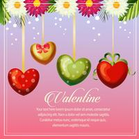 valentine card with heart balloon decoration