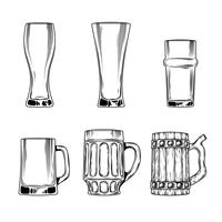 Set of vector icons beer glasses