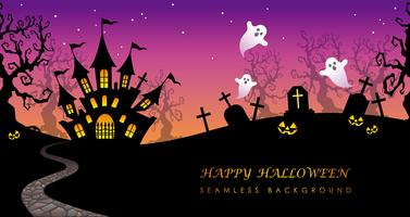 Happy Halloween seamless background with text space.