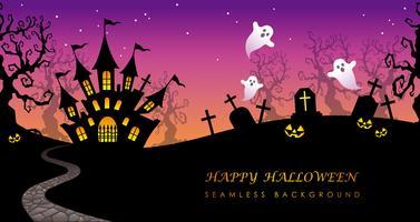 Fondo inconsútil del feliz Halloween con el espacio del texto.