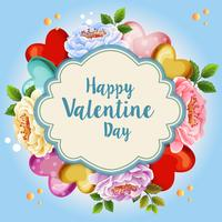 beautiful floral valentine illustration blue background
