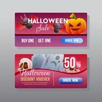 halloween discount web banner with ghost