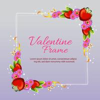 valentine frame square with flower