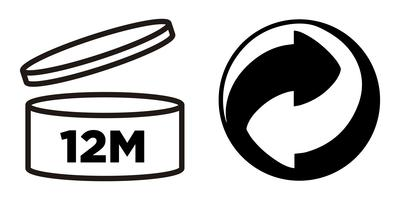 12M Period after opening, PAO symbol and Green Point symbol for cosmetics packaging.