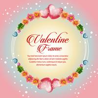 flower circle frame valentine card
