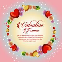 circle floral frame valentine card