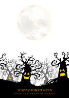 Glad Halloween sömlös spökad skog med textutrymme.