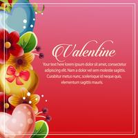 valentine card vertical heart floral decoration