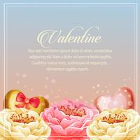 valentine card heart beautiful flower decoration