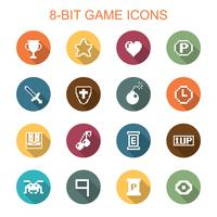 8-bit game long shadow icons vector