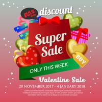 valentine Sale Poster with heart shape