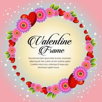 circle pinkish floral frame valentine card