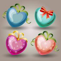 four heart valentine icon set