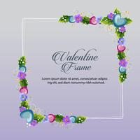 marco floral azul de san valentín