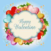 cute floral valentine illustration blue background