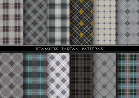 Seamless Tartan plaid set, vektor illustration.