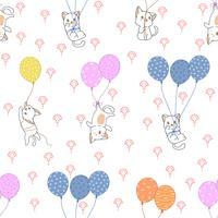 Gato sem costura e padrão de balões coloridos.