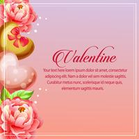 valentine card vertical heart camellia decoration