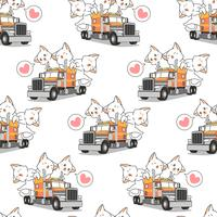 Seamless kawaii cats on the truck pattern