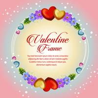 circle frame valentine card blue flower