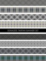 Seamless Tartan plaid banner set, vector illustration.