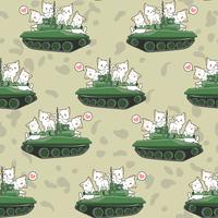 Seamless cute cats and war tanks pattern vector